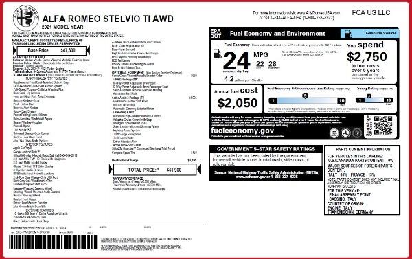 New 2021 Alfa Romeo Stelvio Ti Q4 for sale $51,900 at Pagani of Greenwich in Greenwich CT 06830 2