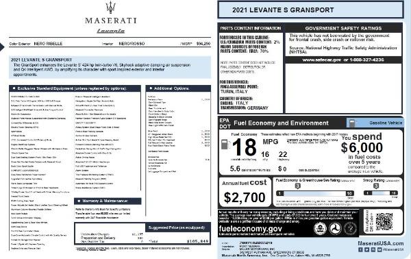 New 2021 Maserati Levante S Q4 GranSport for sale $105,849 at Pagani of Greenwich in Greenwich CT 06830 2