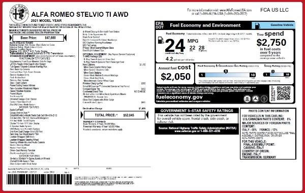 New 2021 Alfa Romeo Stelvio Ti Q4 for sale $52,045 at Pagani of Greenwich in Greenwich CT 06830 2
