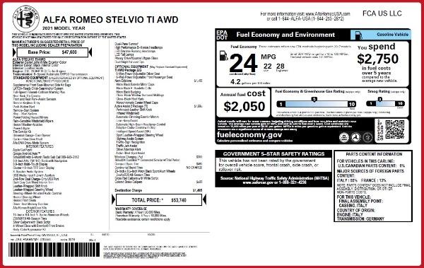 New 2021 Alfa Romeo Stelvio Ti Q4 for sale $53,740 at Pagani of Greenwich in Greenwich CT 06830 2