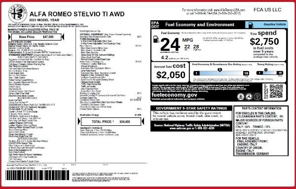 New 2021 Alfa Romeo Stelvio Ti Q4 for sale $54,400 at Pagani of Greenwich in Greenwich CT 06830 26