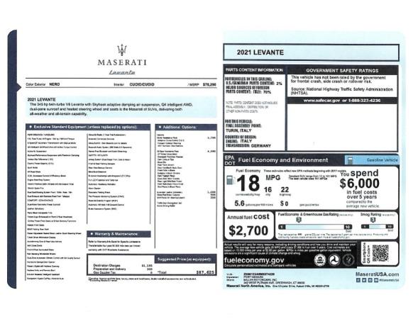 New 2021 Maserati Levante for sale $87,625 at Pagani of Greenwich in Greenwich CT 06830 2