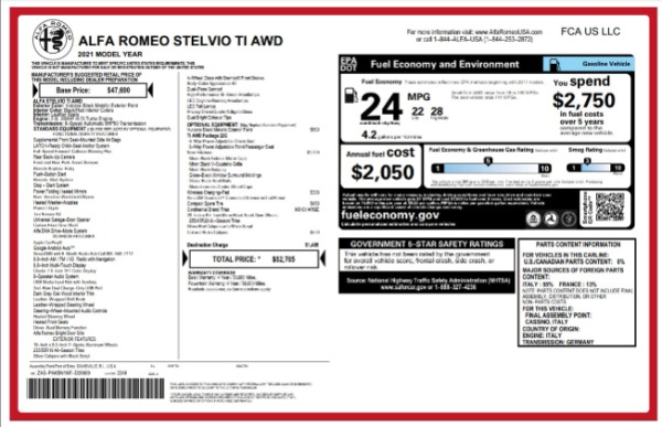 New 2021 Alfa Romeo Stelvio Ti for sale $52,705 at Pagani of Greenwich in Greenwich CT 06830 2