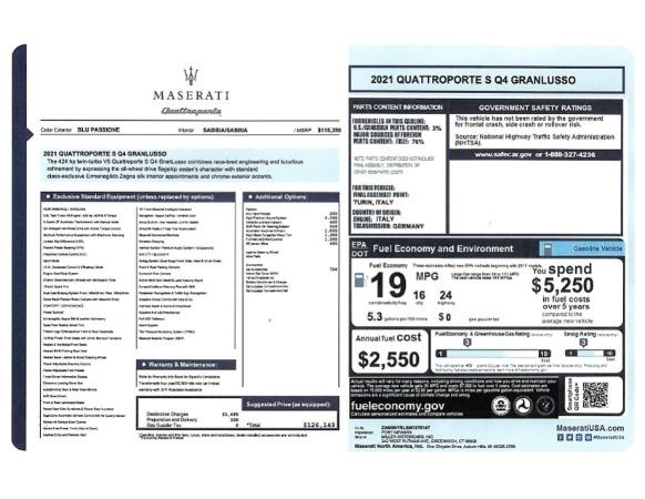 New 2021 Maserati Quattroporte S Q4 GranLusso for sale $126,149 at Pagani of Greenwich in Greenwich CT 06830 24