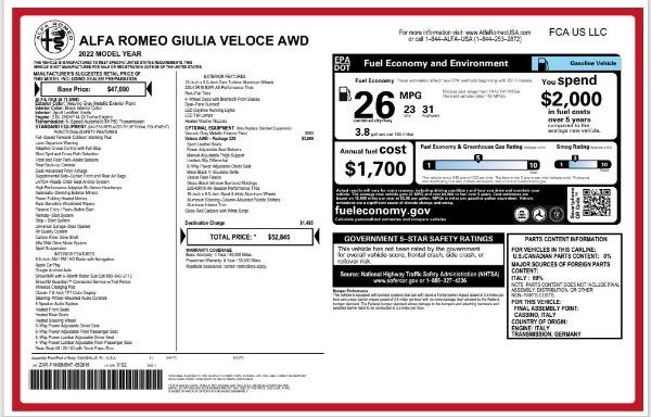 New 2022 Alfa Romeo Giulia Veloce for sale $49,245 at Pagani of Greenwich in Greenwich CT 06830 24