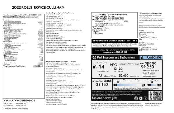 New 2022 Rolls-Royce Cullinan for sale Call for price at Pagani of Greenwich in Greenwich CT 06830 9