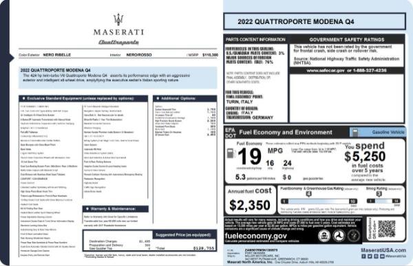 New 2022 Maserati Quattroporte Modena Q4 for sale $128,775 at Pagani of Greenwich in Greenwich CT 06830 23