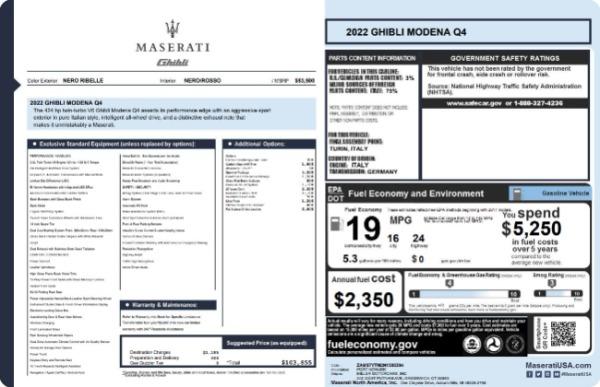 New 2022 Maserati Ghibli Modena Q4 for sale $103,855 at Pagani of Greenwich in Greenwich CT 06830 19