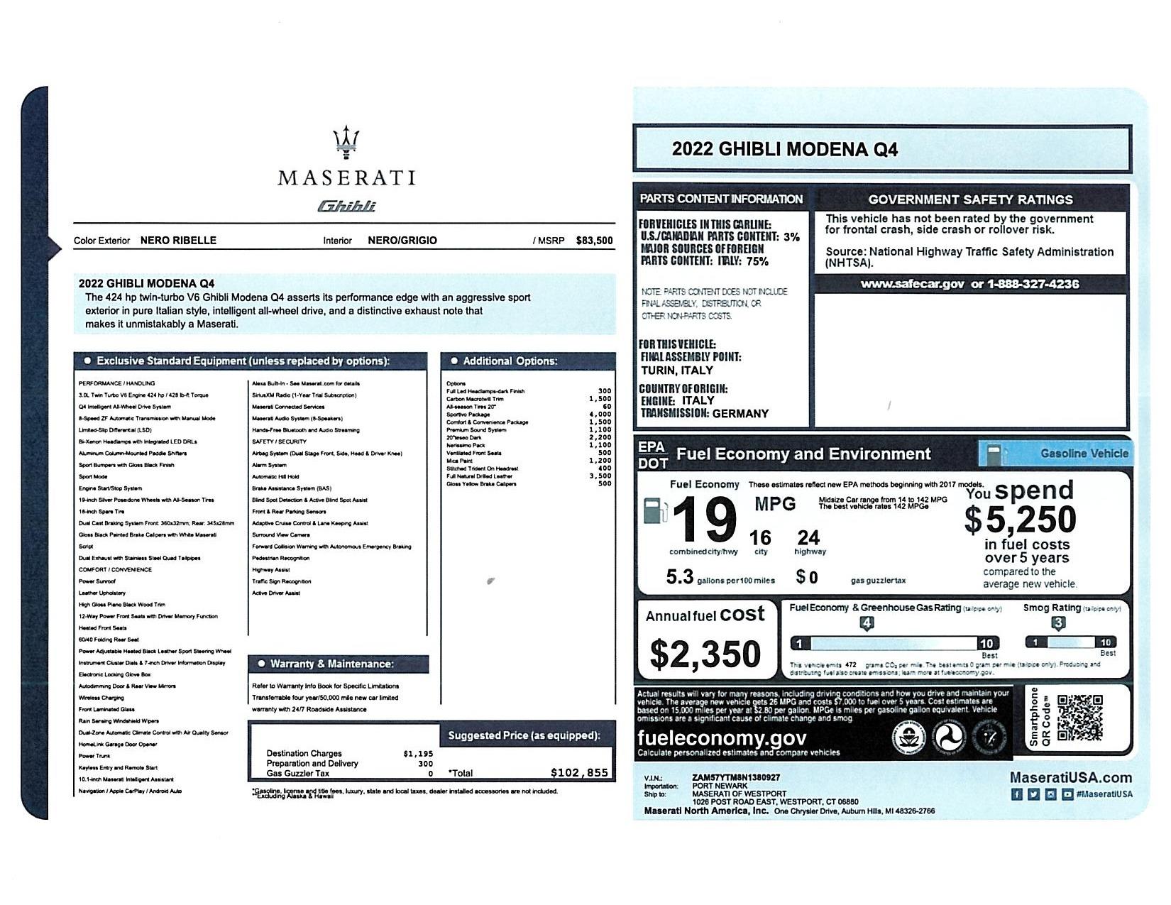 New 2022 Maserati Ghibli Modena Q4 for sale $102,855 at Pagani of Greenwich in Greenwich CT 06830 1