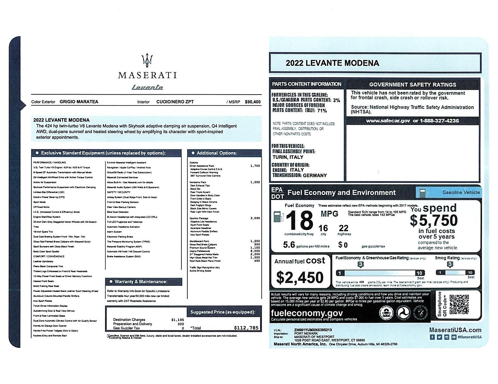 New 2022 Maserati Levante Modena for sale $112,785 at Pagani of Greenwich in Greenwich CT 06830 1